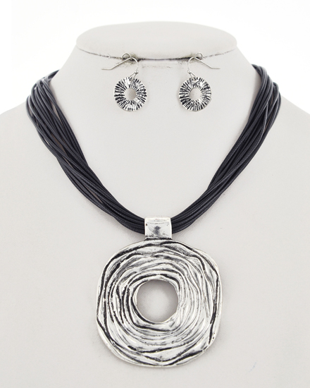OUT OF STOCK-Burnished Silver Tone Open Round Necklace & Earring Set