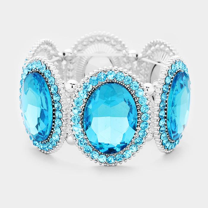 Aqua & Silver Marquise Oval Crystal Evening Stretch Bracelet