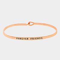 """Rose Gold """"Forever friends"""" Thin Metal Hook Bracelet"""