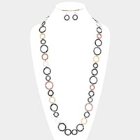 Round Metal Linked Long Necklace & Earrings Set