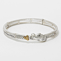 "OUT OF STOCK-Matte gold & Silver""Angel Blessing"" Heart Stretch Bracelet"