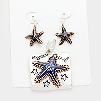 """Beach love"" starfish pendant set                                          Faceted Mixed Beads Layered Necklace & Earrings"