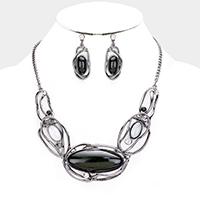Hematite & Black Stone Necklace & Earring Set