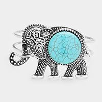 Silver Burnished, Turquoise Embossed Metal Elephant Turquoise Wire Hinged Bracelet