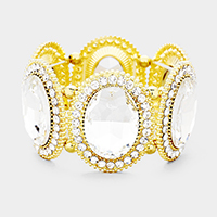 Clear, Gold  Marquise Oval Crystal Evening Stretch Bracelet