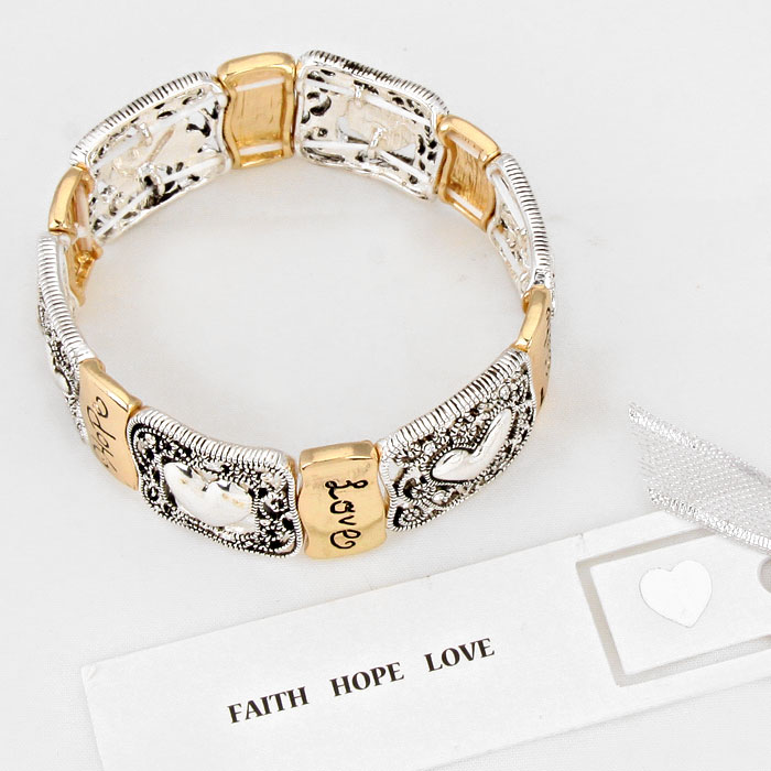 """""""Faith Hope Love"""" Stretch Bracelet"""