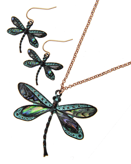 OUT OF STOCK-Patina Multi Color Abalone  Dragonfly  Necklace & Earring Set