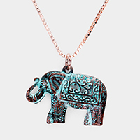Embossed Metal Elephant Pendant Necklace