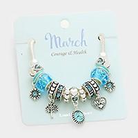 March Multi-bead birthstone heart charm bracelet