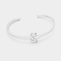 Rhodium Love Knot Cuff Bracelet