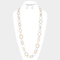 Matte gold, Matte Silver Round Metal Linked Long Necklace & Earrings Set