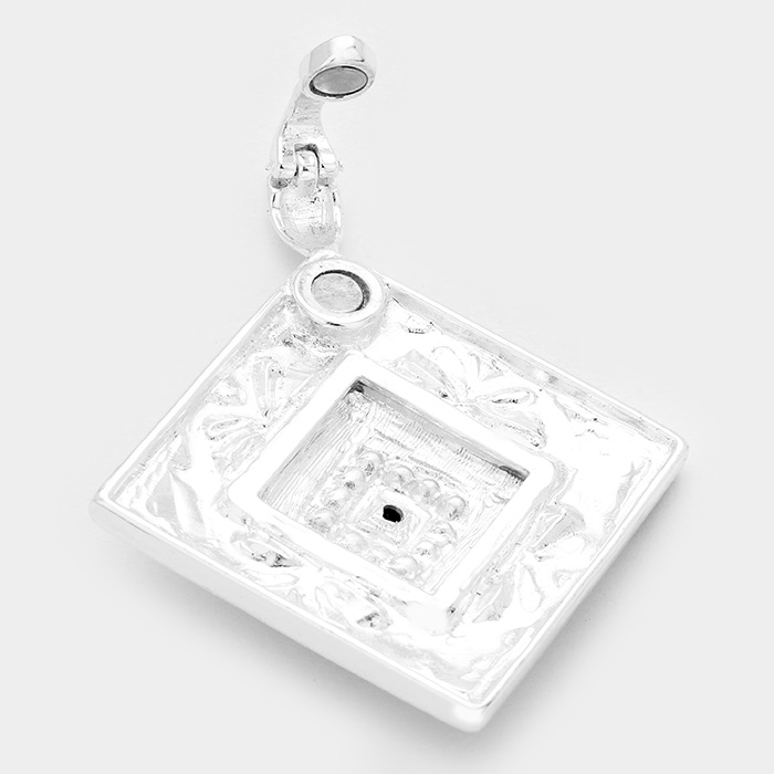Black, Silver  Stone Embossed Antique Square Magnetic Pendant