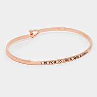 """Rose Gold """"I Heart You to the moon & back"""" Thin Metal Hook Bracelet"""