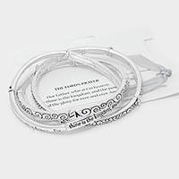 "Antique Silver  ""The Lord's prayer"" pre-layered metal stretch bracelet"