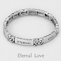 "Silver  ""Eternal Love"" Stretch Bracelet"