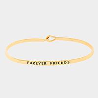 "Gold ""Forever friends"" Thin Metal Hook Bracelet"