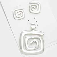 SOLD OUT-Silver Swirl metal pendant set