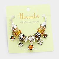 November _ Multi-bead birthstone heart charm bracelet
