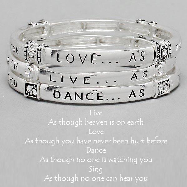 """Live ,Love, Dance, Sing"" Stretch Stack Bracelet"