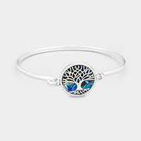 Silver Round Abalone Tree of Life Hook Bracelet