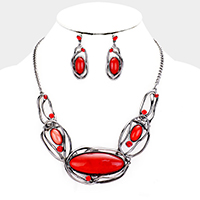 Hematite & Red  Stone Necklace & Earring Set