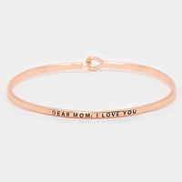 "Rose Gold ""Dear mom : I love you"" Thin Metal Hook Bracelet"