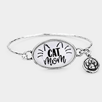 Silver Burnished Cat Mom' Cat Paw Charm Hook Bracelet