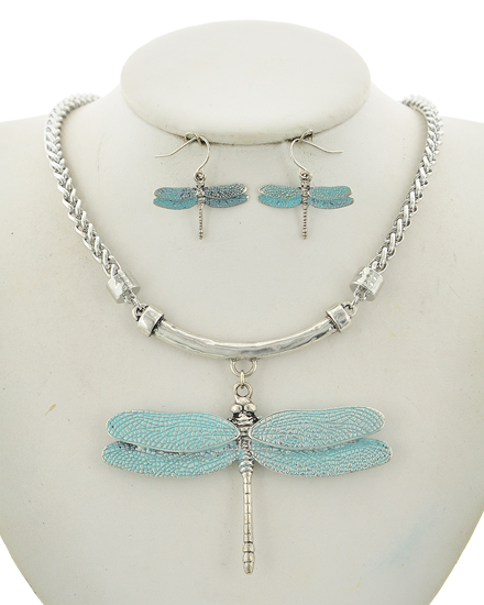 OUT OF STOCK-Dragonfly Silver & Blue Tone Necklace & Earring set