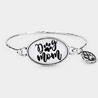 Silver Burnished 'Dog Mom' Dog Paw Charm Hook Bracelet