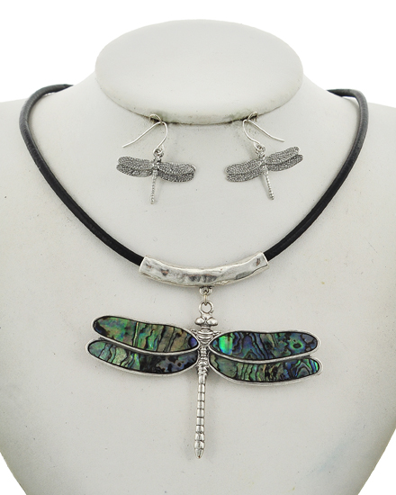 Dragon FlyGreen Multi Necklace & Earring Set