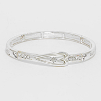 "OUT OF STOCK-Silver ""Faith Hope Love"" Heart Stretch Bracelet"