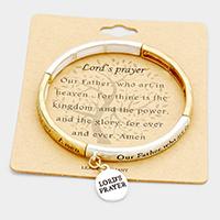 """Lord's Prayer"" Metal Disc Charm Stretch Bracelet Bracelet"