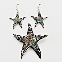 Starfish Abalone Embedded Pendant Set