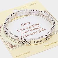 "Silver ""Love"" Heart Message Stretch Bracelet"