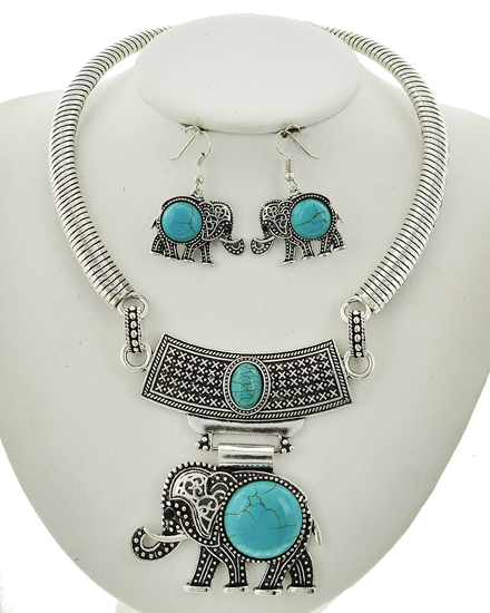 Antique Silver & Stone Necklace & Earring Set