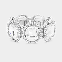 Rhodium, Clear Pave oval trim glass crystal stretch bracelet