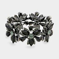 Black Marquise Floral Crystal Stretch Evening Bracelet