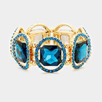 Blue Zircon, Gold  Pave oval trim glass crystal stretch bracelet