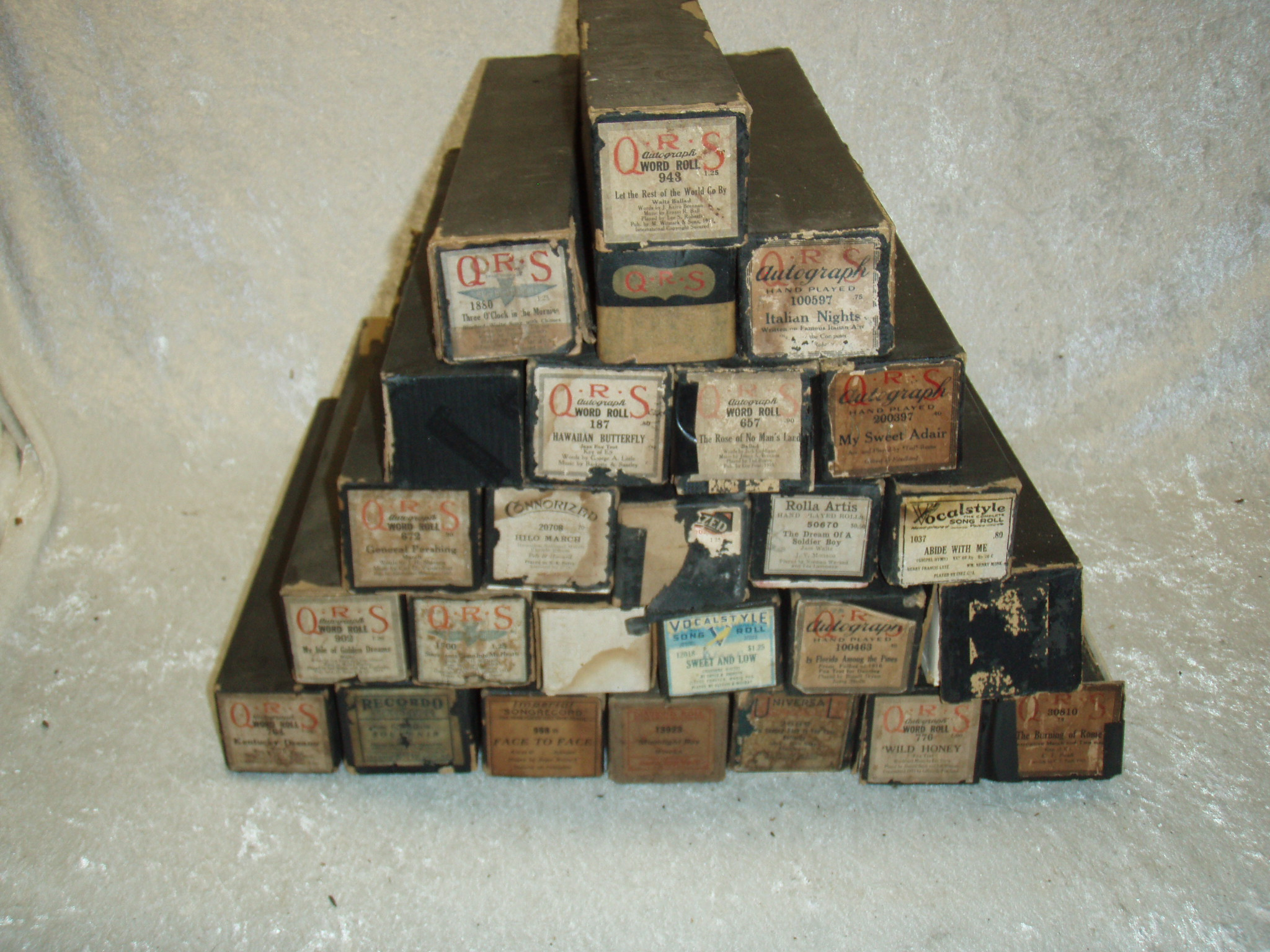 Set of 26 Vintage Player Piano Rolls
