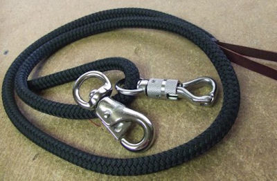12' Solid Black Lead Rope with Bull Snap