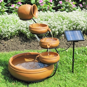 Outdoor Solar Water Fountain with Cascading Terracotta Pots, STPF9901 :  This Outdoor Solar Water Fountain with Cascading Terracotta Pots is made of natural terracotta and creates a relaxing outdoor environment with the soothing sound of natural running water. For garden, patio or balcony use, this cascading water feature constantly recycles the same water and requires no wiring or electricity. Support stand; Solar panel; No wiring simply install and enjoy; Operates in direct sunlight; No operating costs; 5 Piece natural terracotta cascading fountain; Weather Resistant Details: Weather resistant plastic; Water Resistant Details: Water resistant; Number of Pumps Included: 1. UL Listed: Yes; Assembly Required: Yes; Product Warranty: 90 Days; Submersible Pump: Yes; Finish: Terra Cotta; Recirculating Pump: Yes; Hardware Finish: Black; Material: Plastic; Hardware Material: Stainless steel. Weather Resistant: Yes; Water Resistant: Yes; Style: Casual. Fountain Design: Waterfall/Cascade; Fountain Function: Floor; Fountain Location: Outdoor/Garden; Pump Required: Yes; Number of Pumps Required: 1; Pump Included: Yes; Powered: Yes; Sound Level: Quiet; Number of Spouts: 1; Water Capacity: 1 Gallons.