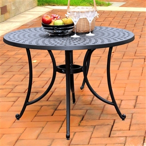 Round 42-inch Cast Aluminum Outdoor Dining Table in Charcoal Black,  DT428458 :  It may be hot outside, but you'll feel cool kicking back in this Round 42-inch Cast Aluminum Outdoor Dining Table in Charcoal Black. Designed for style and built to last, this table features durable charcoal black powder coated finish that will weather harshest of outdoor conditions. Product Care: Use a soft clean cloth that will not scratch the surface when dusting. Use of furniture polish is not necessary. Should you choose to use a furniture polish, test in an inconspicuous area first. Use of solvents of any kind could damage your furniture's finish. To clean, simply use a soft cloth moistened with lukewarm water, then buff with a dry soft clean cloth. Maintenance free; UV resistant; Heavy duty cast aluminum construction; Secondary Frame Material: Metal; Top Material: Metal; Table Shape: Round; Style: Contemporary; Powder Coated Finish: Yes; Weather Resistant: Yes; Seating Capacity: 4; Table Weight Capacity: 200 Pounds; Commercial Use: No; Eco-Friendly: No; Country of Manufacture: China; Assembly Required: Yes; Product Warranty: 3 Months.