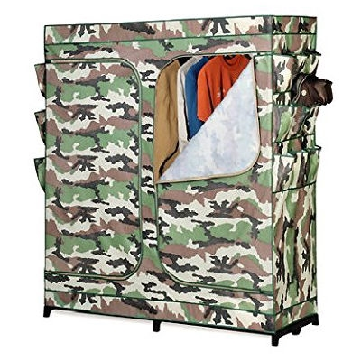 This 60-inch Camo Portable Closet Clothes Organizer Wardrobe double door storage closet. easy, sturdy assembly. breathable fabric. great for shirts, blouses and dresses. put this portable closet anywhere you need the room. Includes Limited Lifetime Warranty.