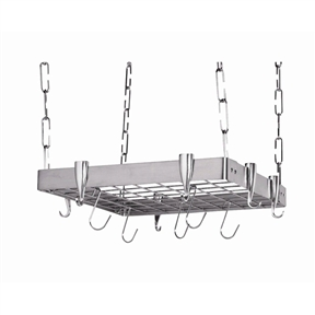 This Square Stainless Steel Ceiling Hanging Pot Rack provides efficient storage for all of your pots and pans. Ideal for use over your kitchen stove for rapid storage and elegant display. Its steel frame makes for sleek design and a rugged product. This product is easy to install and includes all hardware needed to set up. With standard amount of hanging links this pot rack will hang 23-inch low.