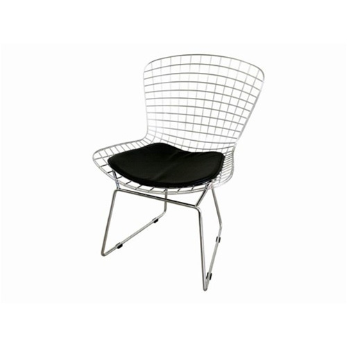This Wire Side Chair / Dining Chair with Vinyl Seat Pad has a steel wire mesh and chrome feet.