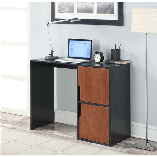The Modern Cubes Basic Writing Computer Desk in Black Cherry Finish an essential for any student, dorm, or home office. Featuring two cabinets that are sized to fit binders, books and files, you can work in ease with all of your necessities neatly stowed away in hands reach. The two tone Black and Cherry wood grain finish will easily complement any decor.