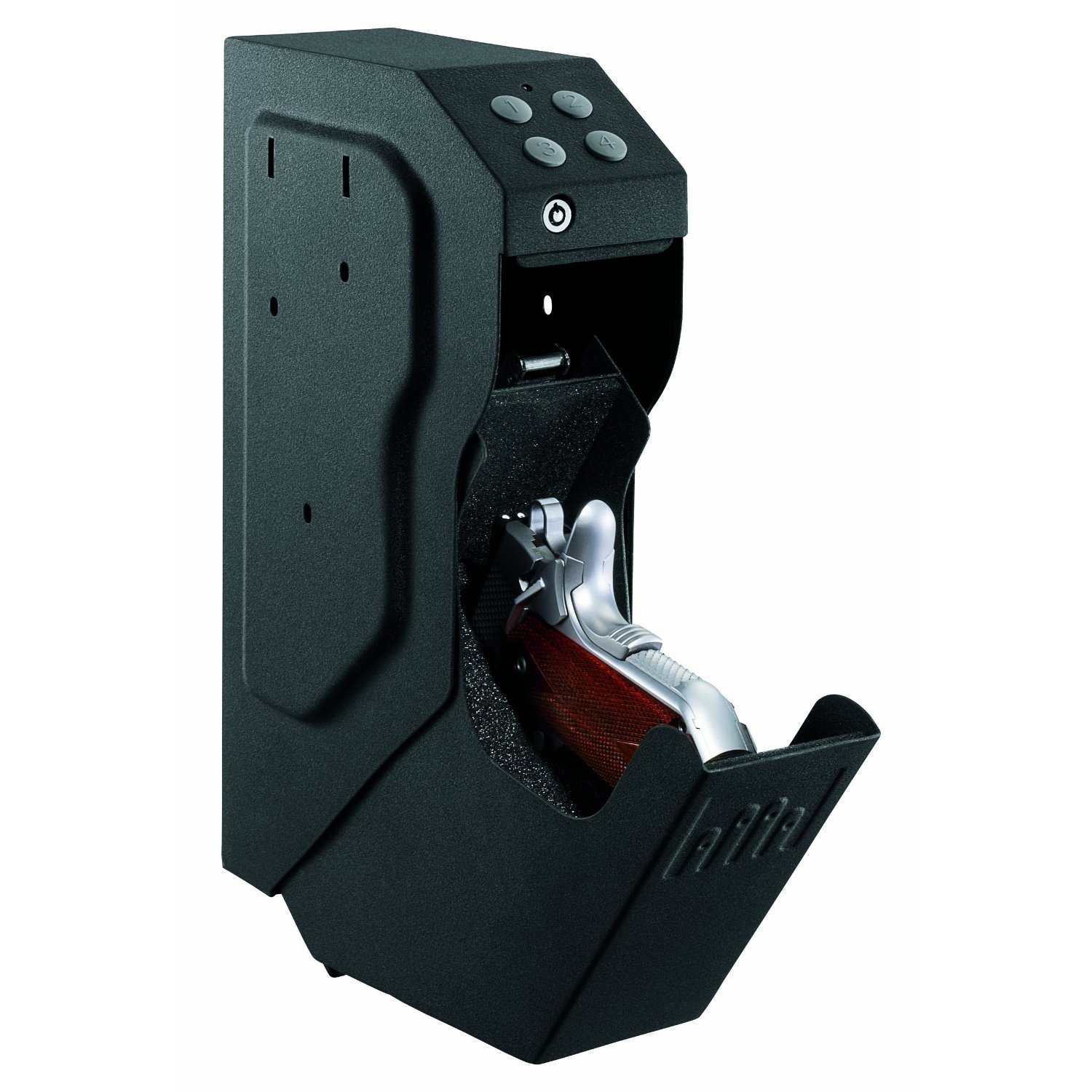 Quick Draw Handgun Pistol Gun Safe with Digital Keypad & Override Key, GSVGS13526 :  Keep your handgun safe, secure and ready for action with this Fast Draw Handgun Pistol Gun Safe with Digital Keypad & Override Key. Offering a revolutionary design, the SpeedVault is equally as fast as it is discreet. It is the ideal choice for a home or business looking for added security. Backup override key included; Audio and LED low battery warning.