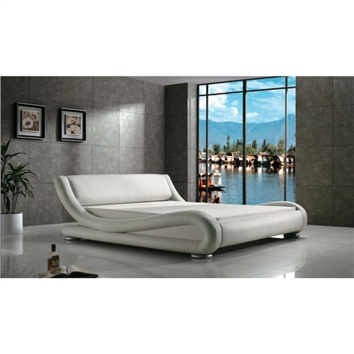 """You will love the sleek curvature and contemporary design of this Queen Modern White Upholstered Platform Bed with Curved Sides & Headboard. Covered in man-made leather, this bed comes with slats so there is no need of a bunkey board or spring box when adding this bold piece to your room. The bed is around 90""""(L)*72""""(W)*30""""(H). bedding and mattress are not included. Finish: White. High-quality vinyl covered; Assemble required yes."""