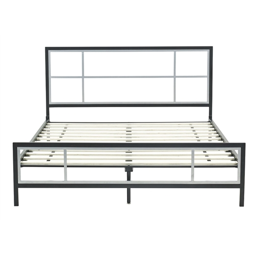 This Queen size Modern Platform Metal Bed Frame with Headboard Footboard and Wooden Slats provides a timeless window headboard and footboard design with a Matte Black and Pewter finish combination. Welded fully assembled headboard and footboard allow for added strength and durability while being easy to assemble. Hardwood mattress slat pack speeds assembly while eliminating the need for a mattress foundation or box spring. While providing great styling the Lucia platform bed also provides durability with the ability to hold 700 lbs. The perfect bed for any room and is available in Queen, Full and Twin sizes. Mattress not included. Foundation or Box Spring not needed.
