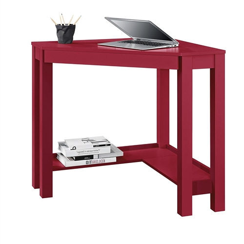 This Red Corner Writing Laptop Desk with Drawer - Great for Small Spaces allows you to optimize your workspace and that empty corner in your office or den with its convenient triangle shape. This Corner Desk has the classic parsons styling that includes a simple silhouette with clean lines. The Desk features a center storage drawer that's perfect for pens, paper, computer peripherals and other small office supplies. Desk surface offers the perfect space for your laptop and speakers; Large pull-out drawer provides ample room to store your office supplies and helps to prevent clutter.